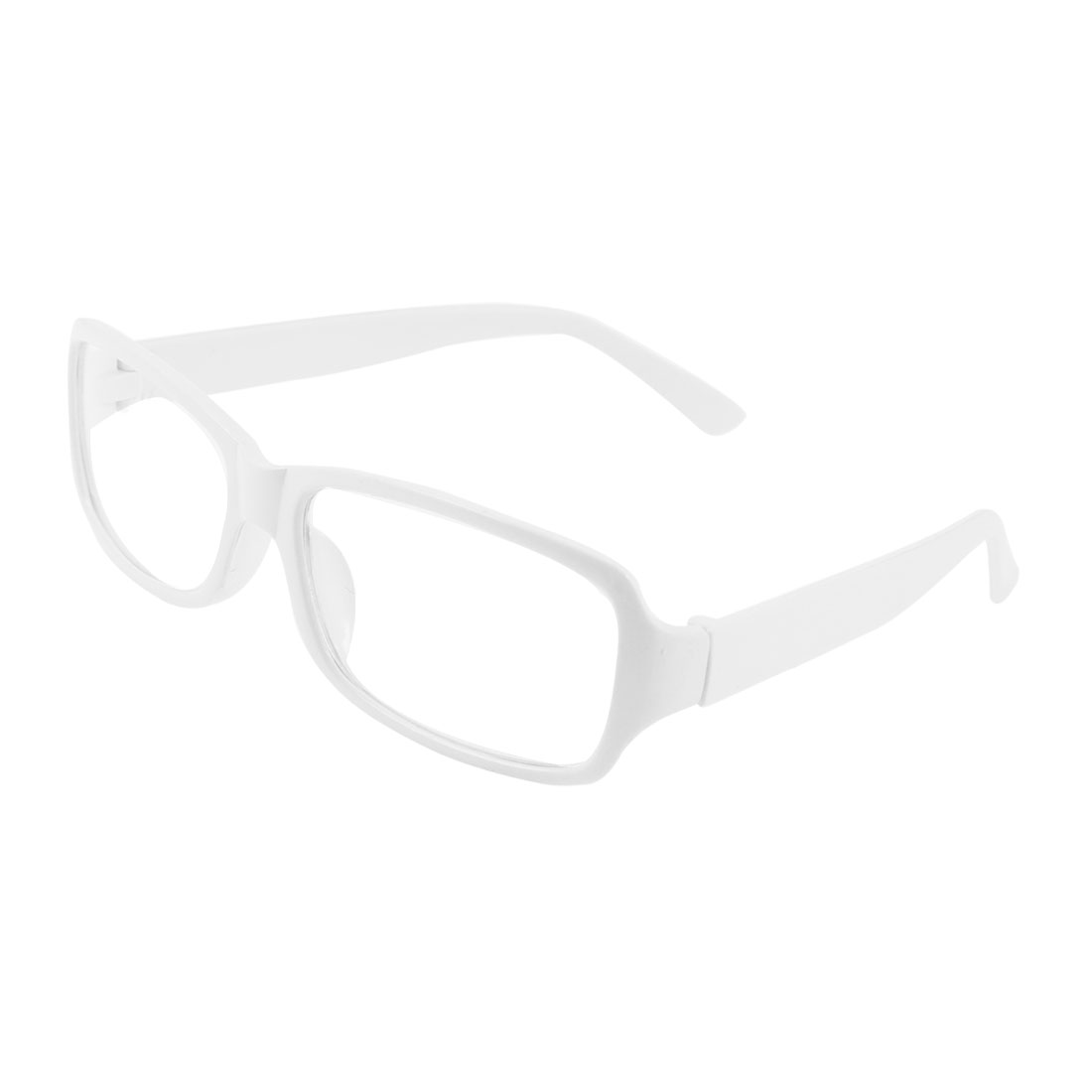 Women White Plastic Arms Full Frame Rectangle Lens Plain Glasses Spectacles