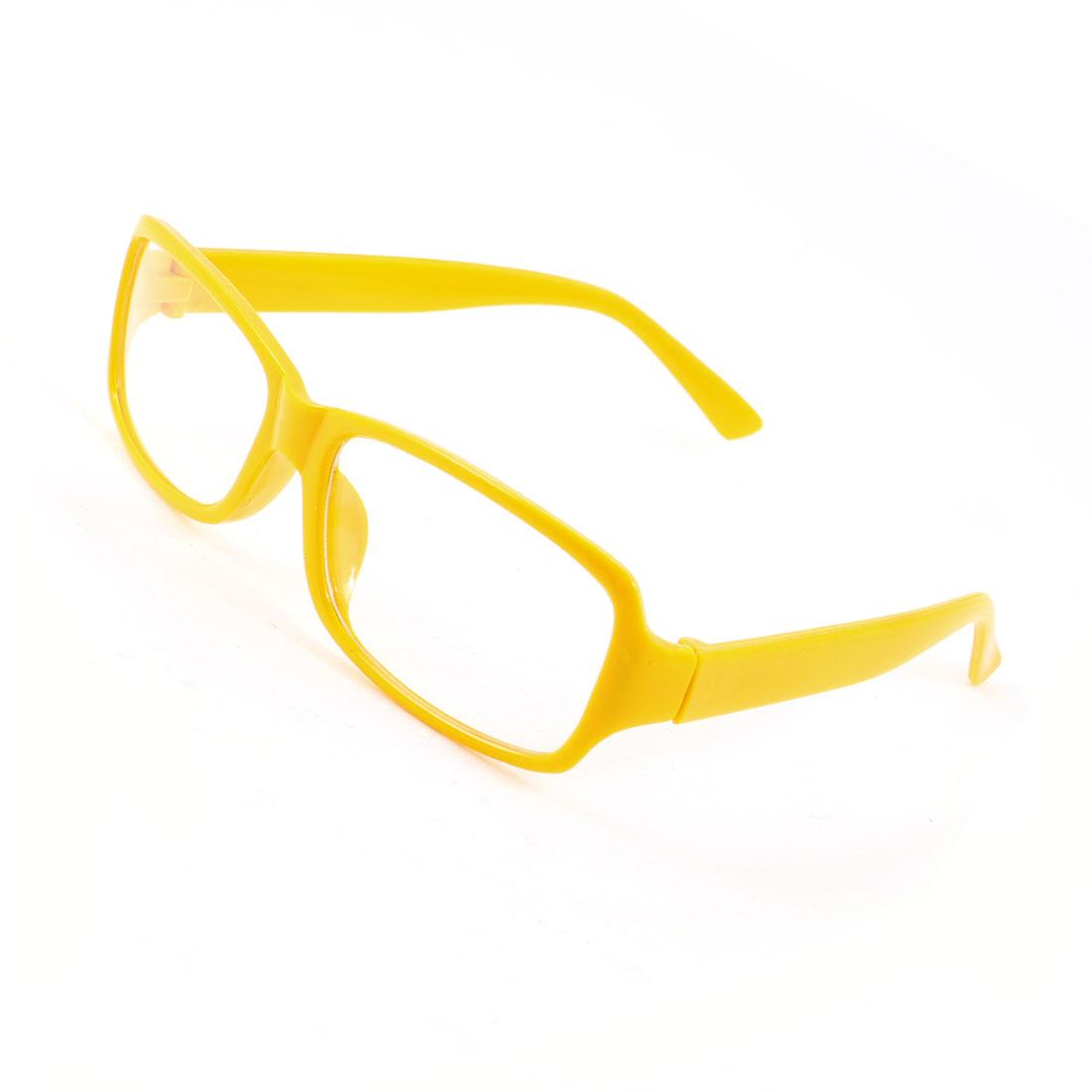 Yellow Plastic Rectangular Full Frame Plain Eyeglasses Spectacles for Ladies