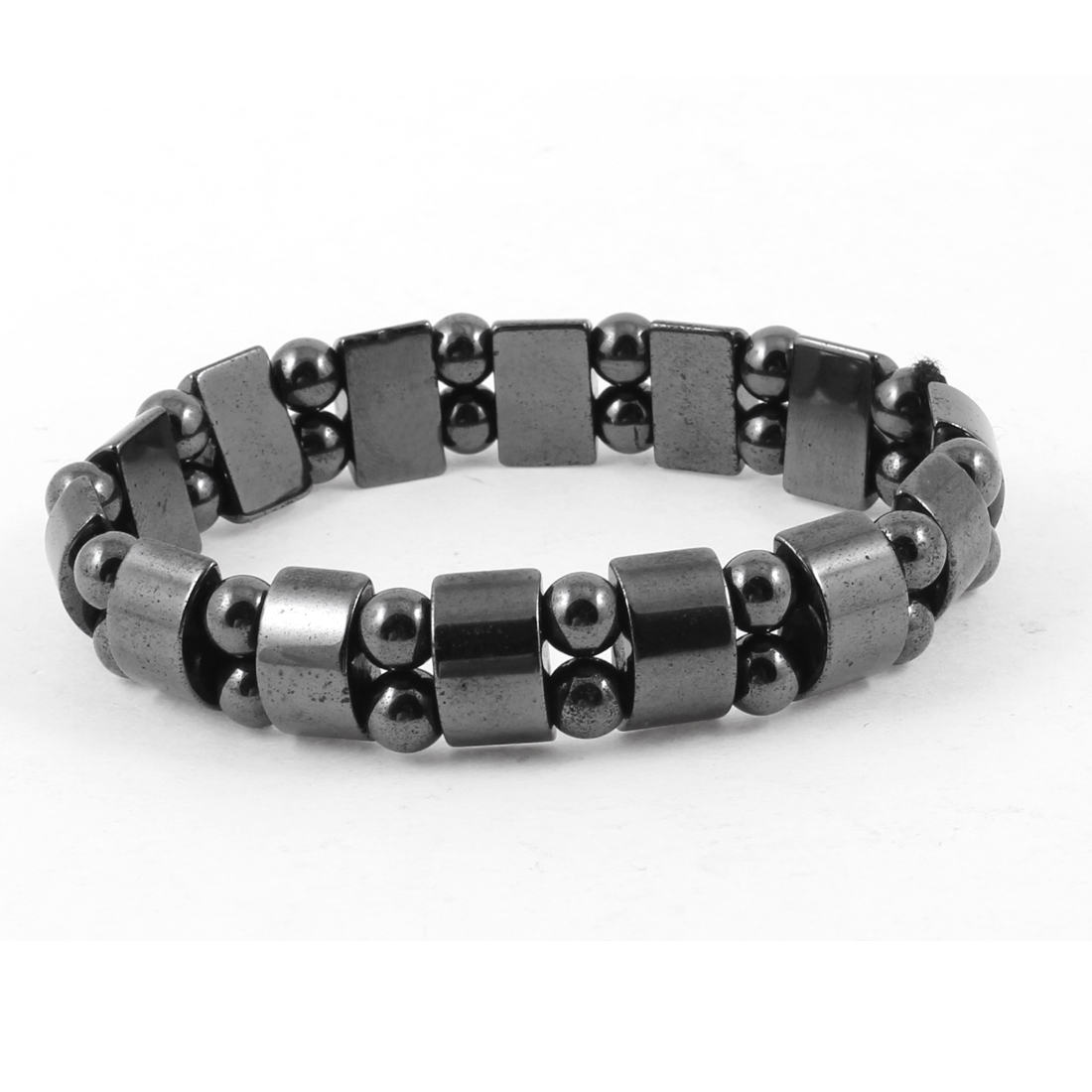 Unisex Dark Grey Rectangle Hematite Beads Elastic Magnetic Bracelet