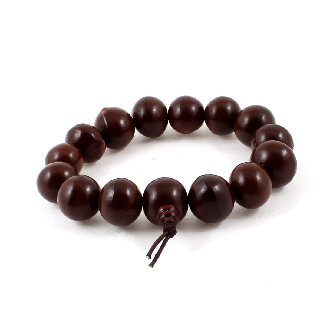 Unisex Buddhist Bodhi Seed Beaded Elastic Prayer Bracelet Brown