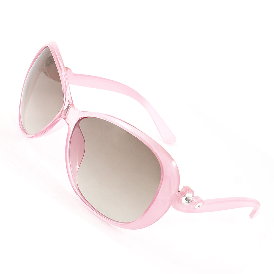 Lady Faux Crystal Decor Arms Brown Lens Pink Full Frame Sunglasses Eyeglasses