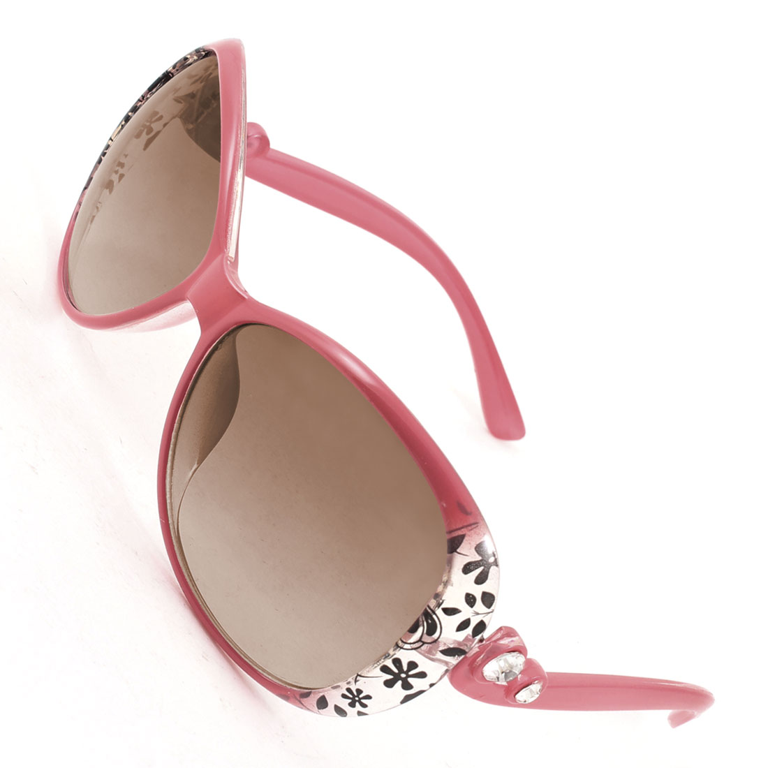 Women Salmon Pink Plastic Full Rim Brown Lens Sunglasses Eyeglasses Sun Glasses