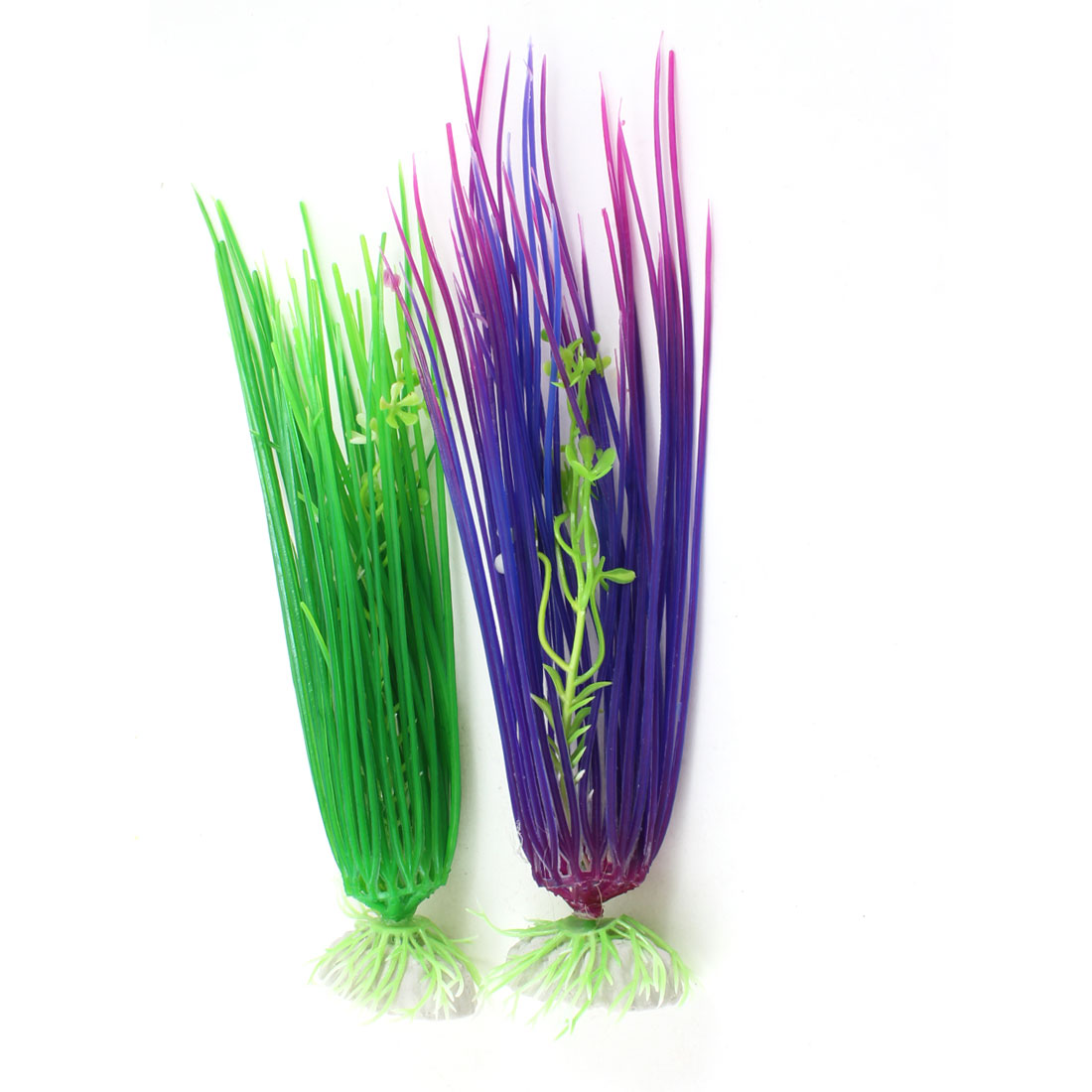 "2 Pcs Aquarium Slim Leaves Emulational Plastic Plant Green Purple 7.9"" High"