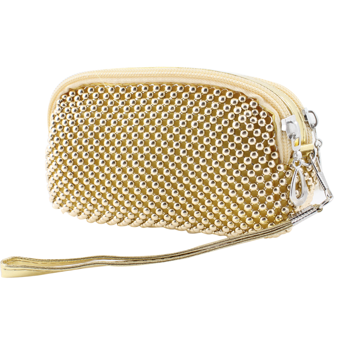 Ladies Gold Tone Metal Beads 2 Pockets Zipped Nylon Lined Purse Hand Bag Pouch