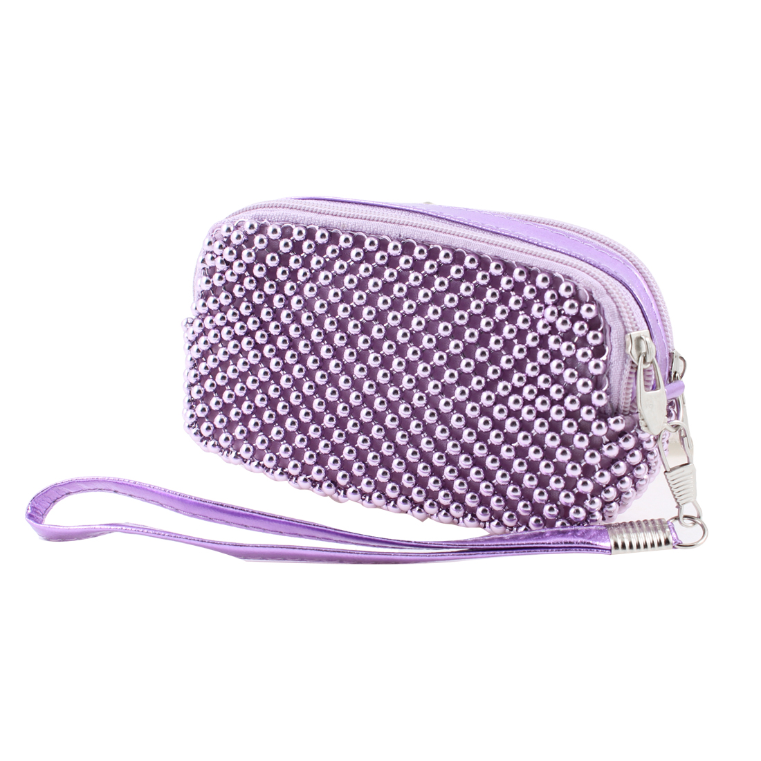 Lady Light Purple Double Compartments Zipped Purse Hand Bag Pouch w Hand Strap