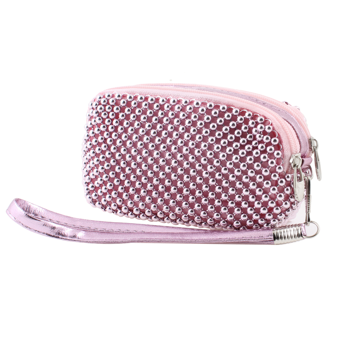 Pink Dual Pockets Metal Beads Knitted Zipper Closure Purse Bag Pouch for Women