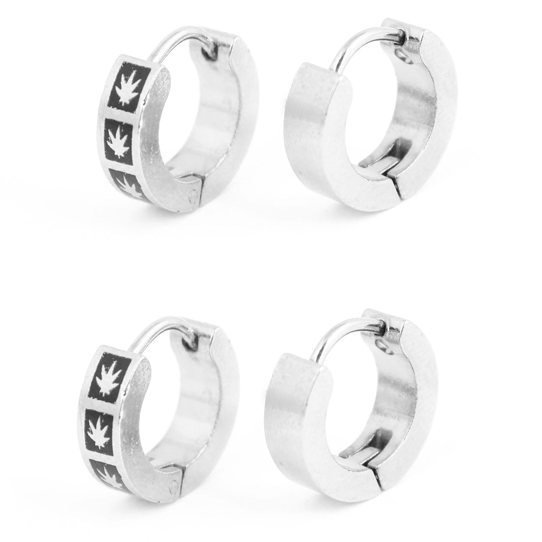 Women Grass Pattern Black Silver Tone Round Loop Hoop Earrings Gift 2 Pairs