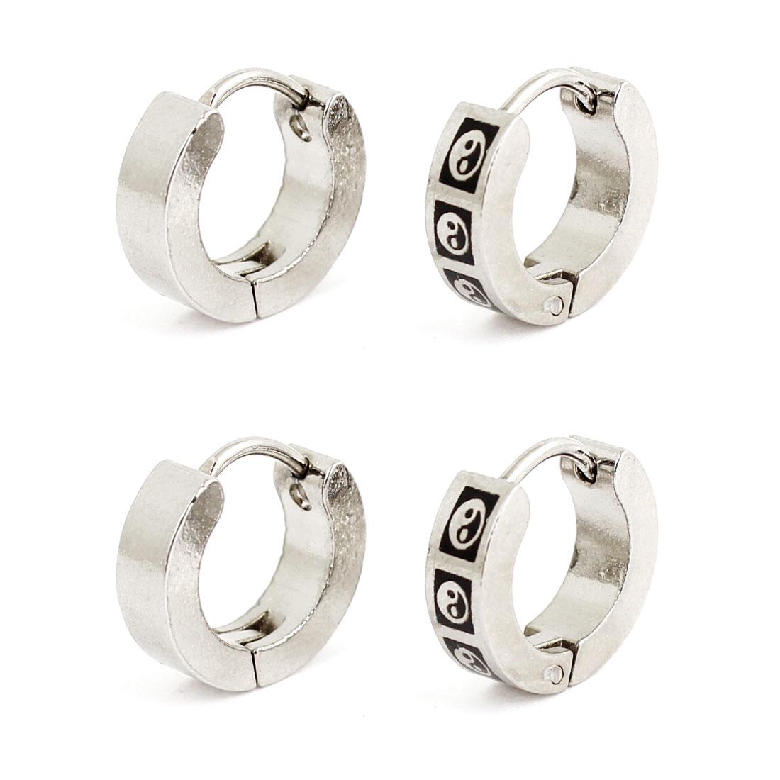 Women Eight Diagrams Print Black Silver Tone Round Hoop Loop Earrings 2 Pairs