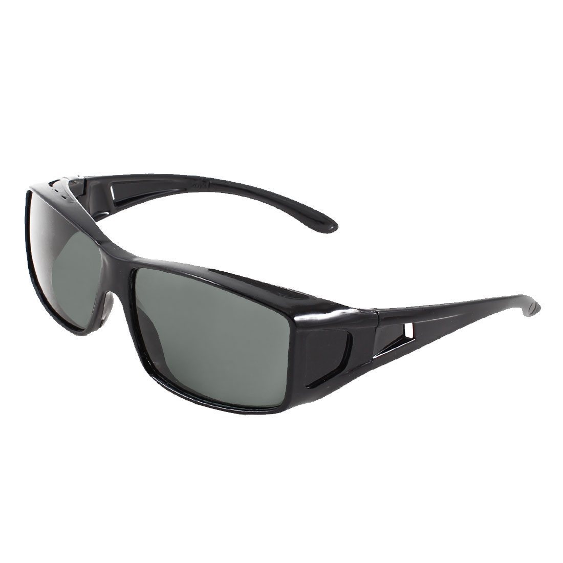 Men Black Plastic Arms Full Frame Rectangle Lens Sunglasses Glasses