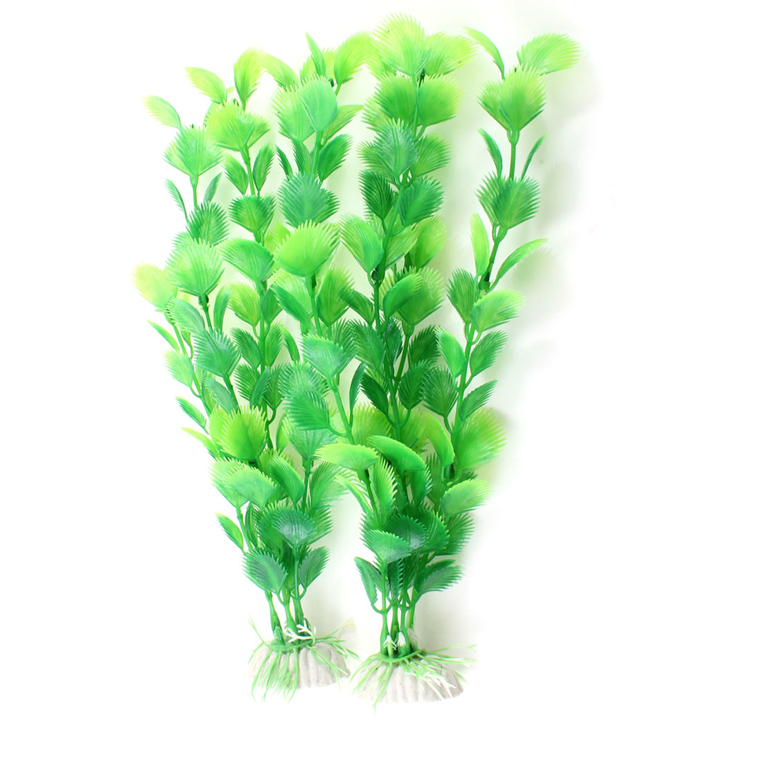 "2 Pcs Aquarium Simulated Manmade Plastic Plant Green 9.8"" Length"