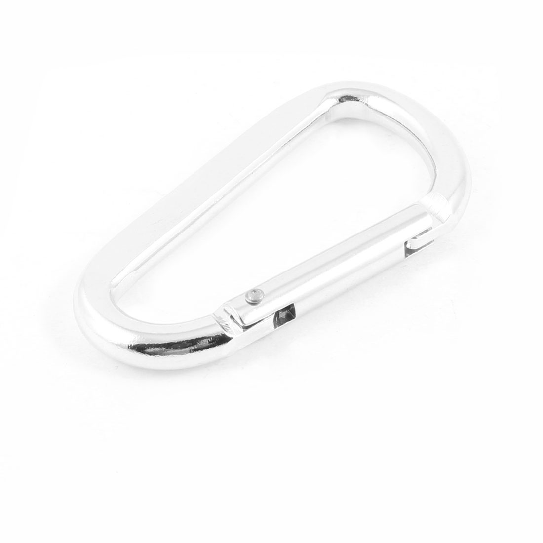 Hiking Spring Loaded Gate Carabiner Pouch Portable Bottle Holder Silver Tone