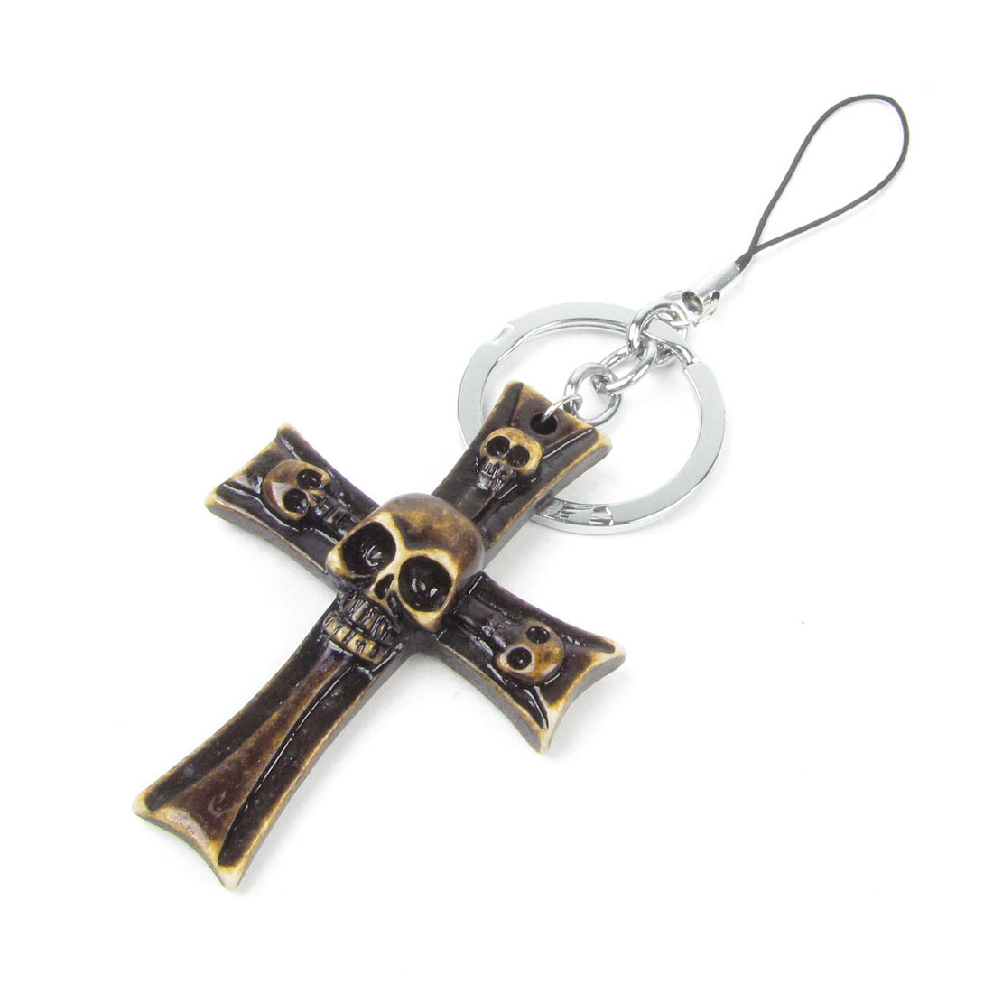 Dark Brown Skull Heads Cross Pendant Mobile Phone Camera Hanging Keyring