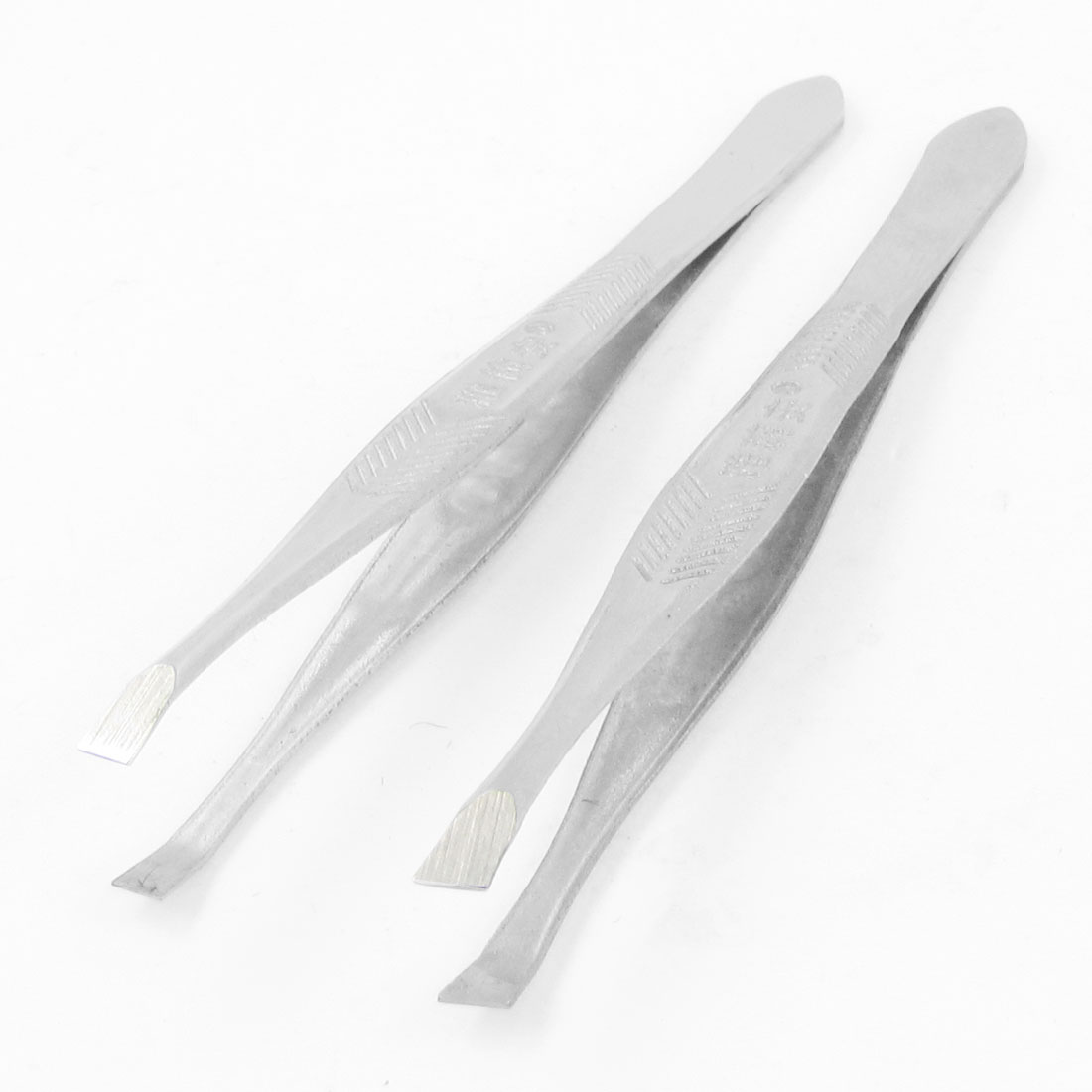Slanted Tip Plain End Eyebrow Tweezers Cosmetic Tool Silver Tone 2pcs