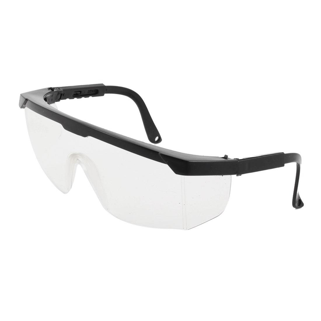 Firemen Black Plastic Frame Adjustable Arms Transparent Lens Goggles