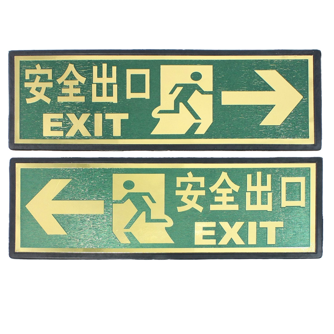 2 Pcs Green Gold Tone Arrow Left Exit Wall Sign Sticker