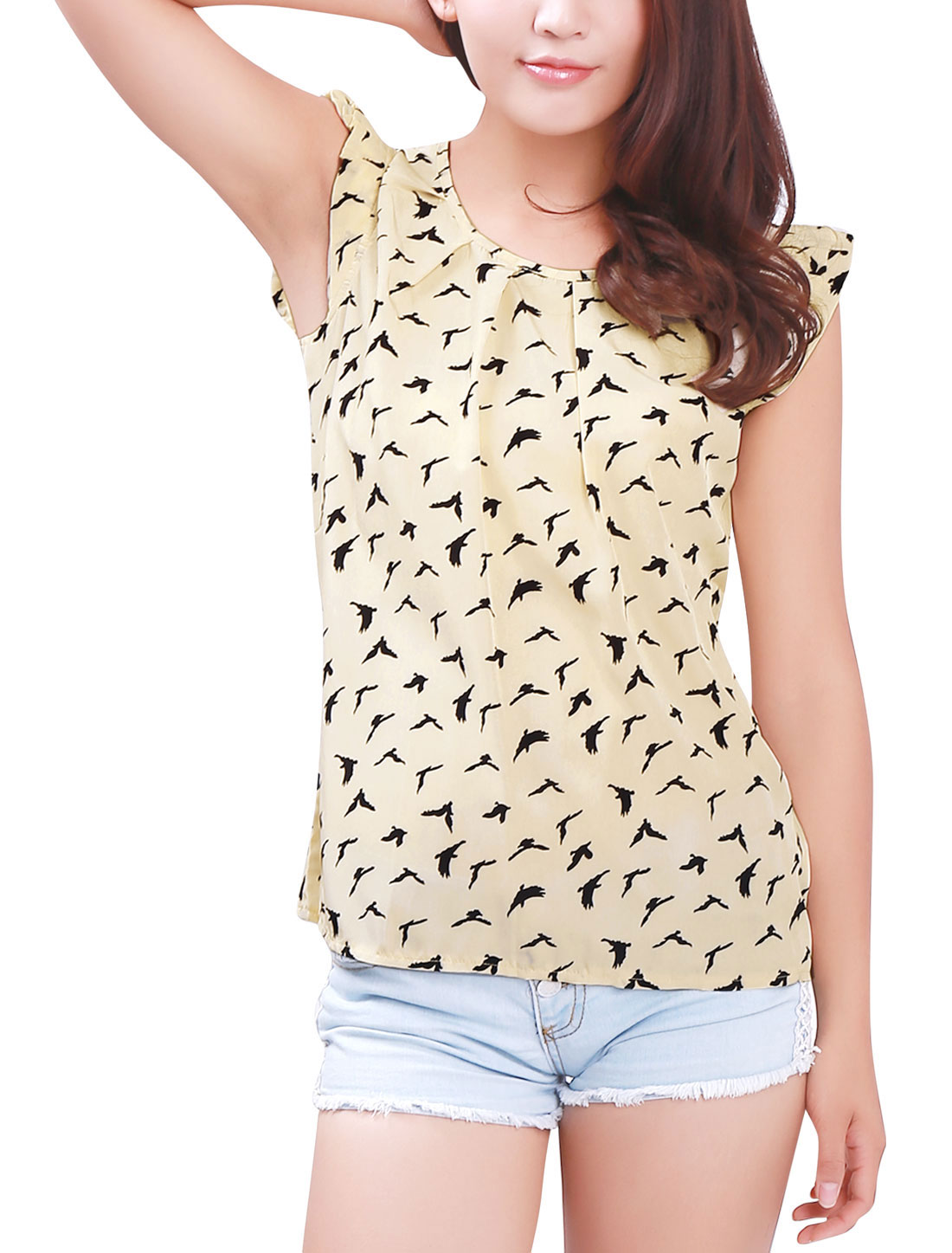Women Birds Pattern Scoop Neck Ruffles Cap Sleeves Blouse Beige XL