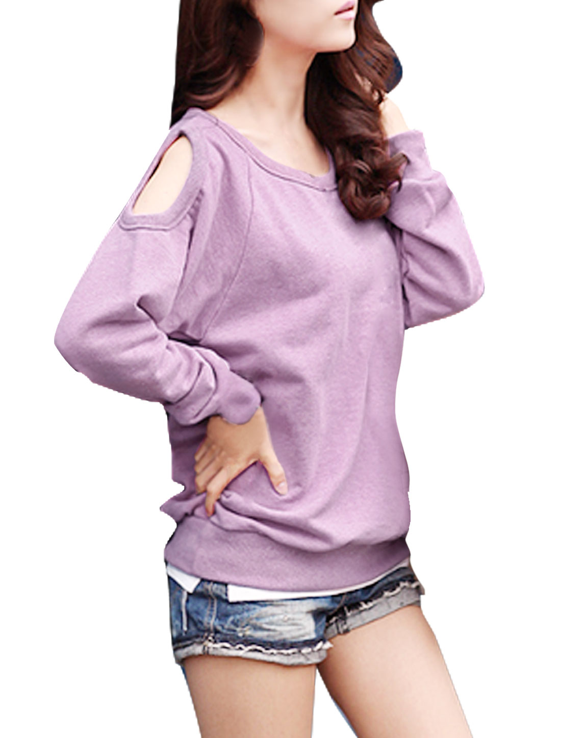 Woman Stylish Solid Color Lilac Long Sleeve Loose Shirt XS
