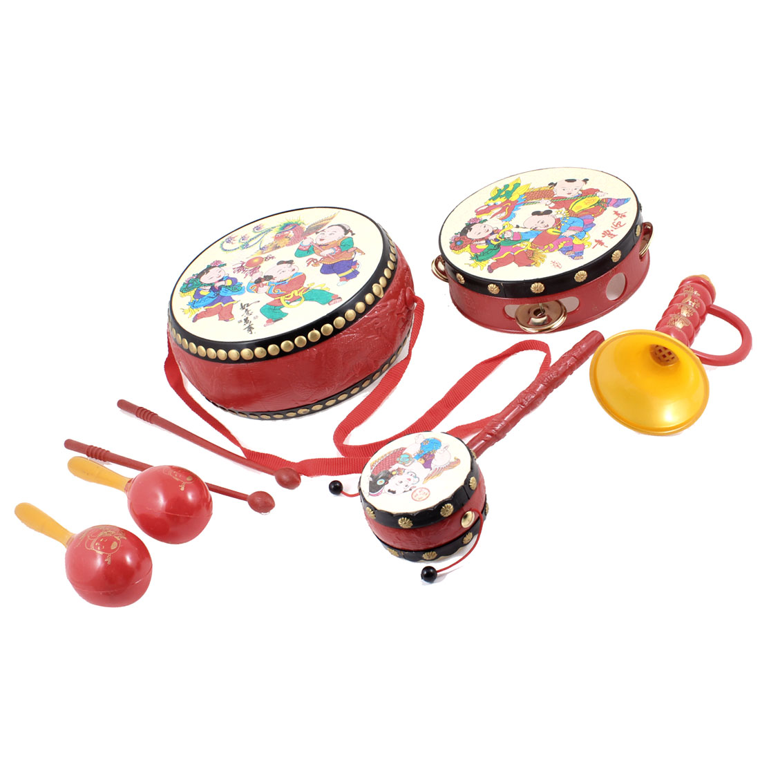 Chinese Traditional Tambourine Beat Trum Trumpet Playing Toy for Kids