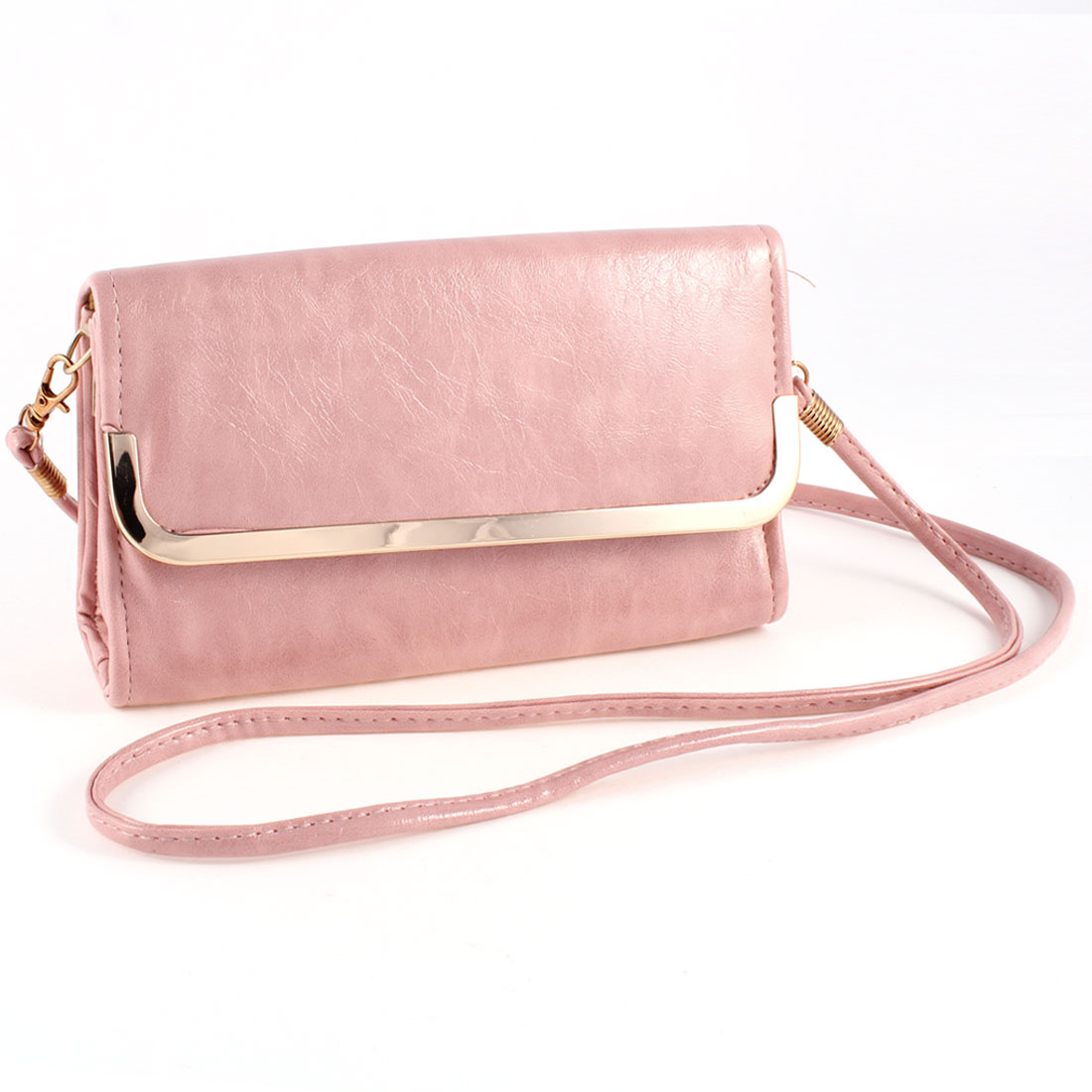 Lady Nylon Lining Zippered Magnetic Flap Closure Handbag Shoulderbag Pale Pink