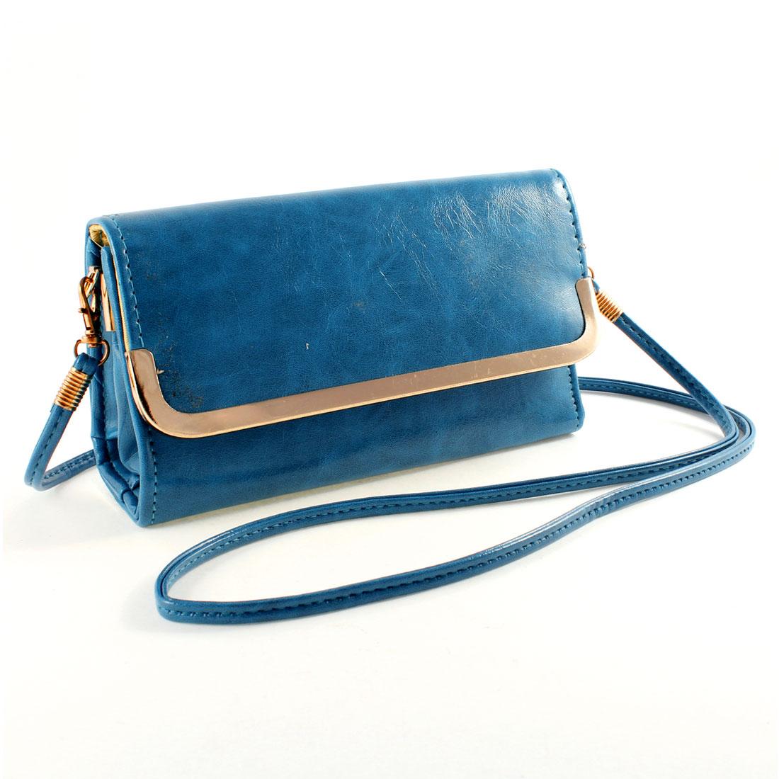 Portable Faux Leather Nylon Linning Shoulder Bag Handbag Teal Blue for Ladies