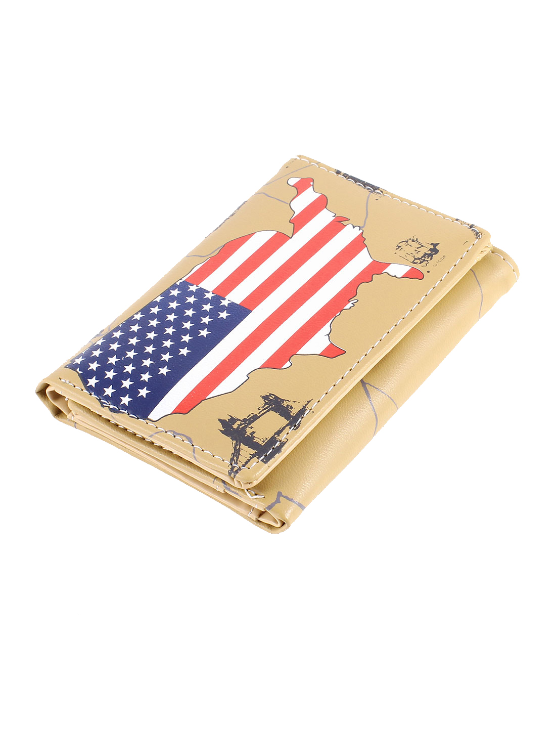 Ladies Map Printed 2 Compartments Credit Card Holder Wallet Purses Khaki