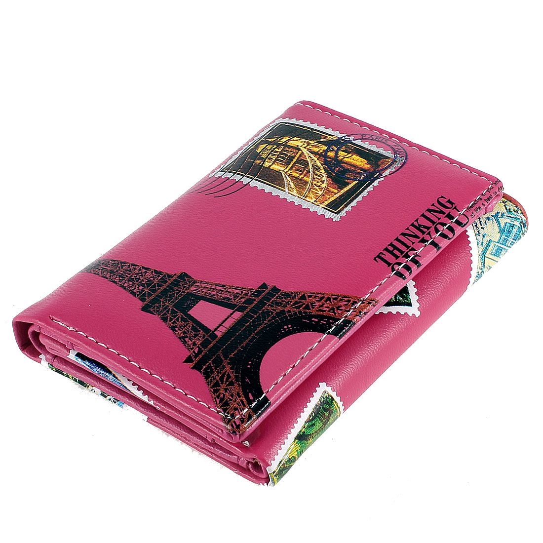 Ladies Eiffel Tower Pattern Faux Leather 4 Card Slots Wallet Purses Fuchsia