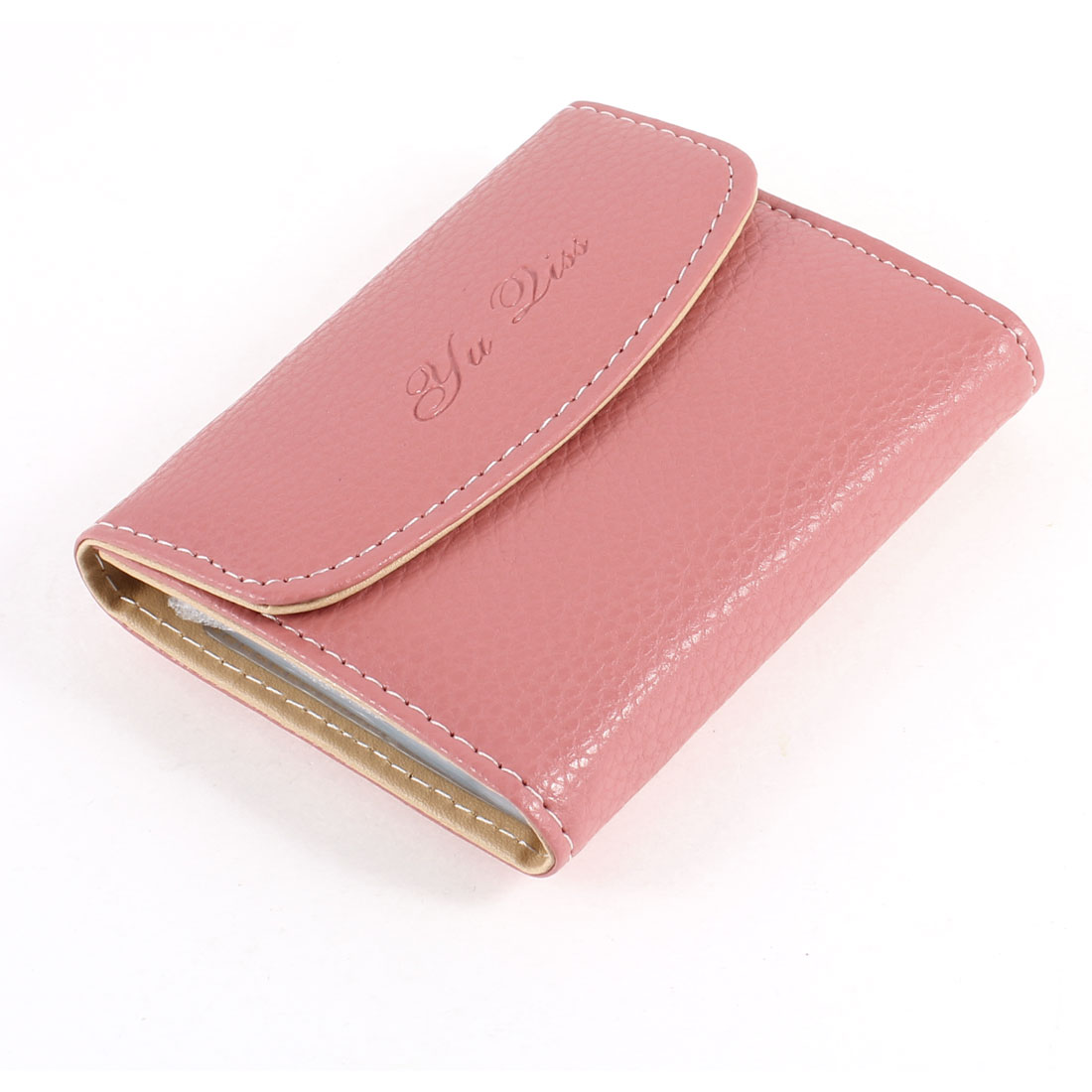 Pale Pink Lichee Printed Faux Leather 26 Pcs Pages Bank Credit Card Holder