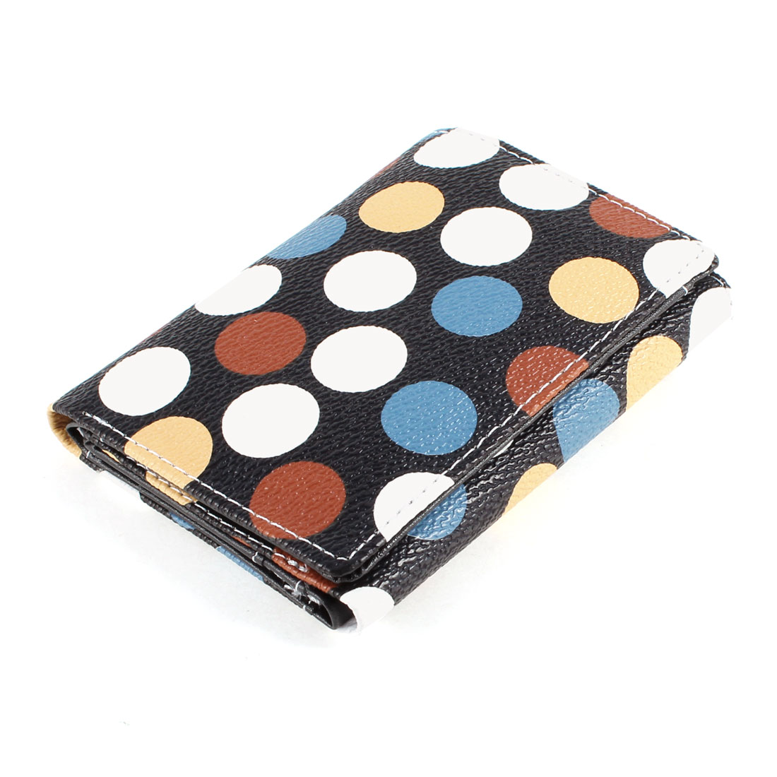 Lady Magnetic Flap Closure Faux Leather 2 Layers Colorful Folding Wallet