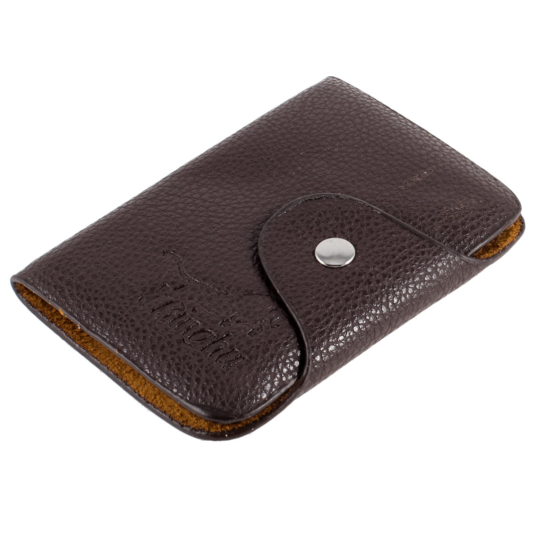 Dark Brown Faux Leather Lychee Print 26 Sheets Business Credit Bank Card Holder