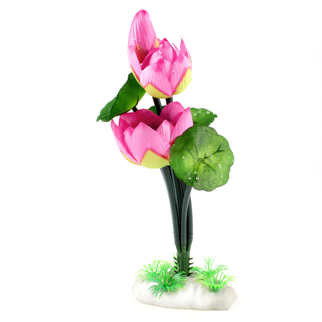 "8.9"" Height Aquarium Landscaping Ornament Manmade Water Plant Lotus Green Pink"