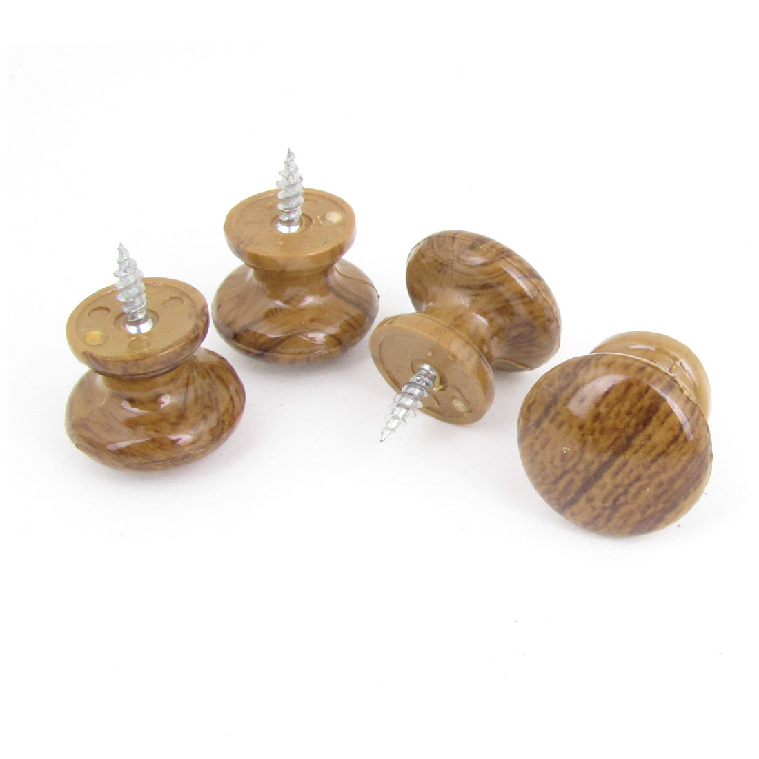 4 Pcs Household Wood Color Plastic Ball Shape Cabinet Drawer Handle Pull Knob