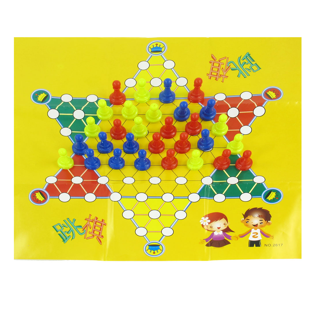 Children Paper Board Red Blue Yellow Chessmen Chinese Checkers Intelligent Toy