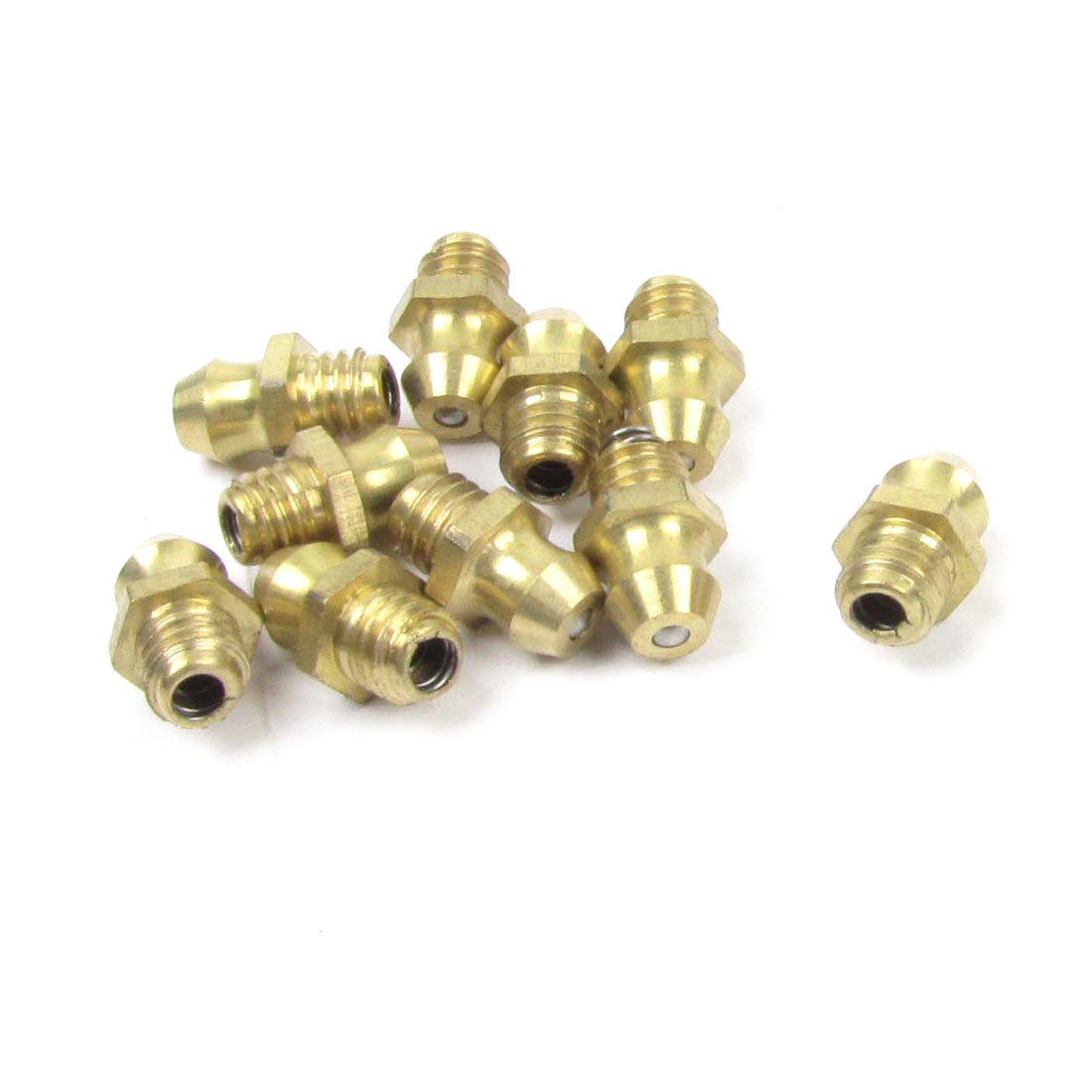 10 Pcs Metal 6mm Threaded Straight Grease Nipple Fittings Nozzles