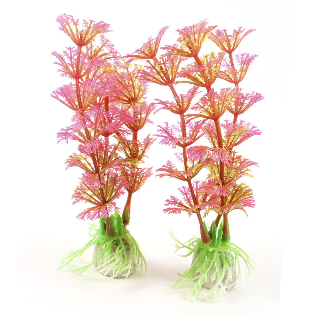 2 Pcs Aquarium Landscaping Plastic Water Plant Grass Ornament Green Fuchsia