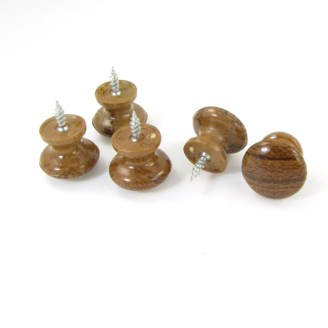 Home Office Wood Color Plastic Polished Ball Drawer Knob Pull Handle Grip 5 Pcs