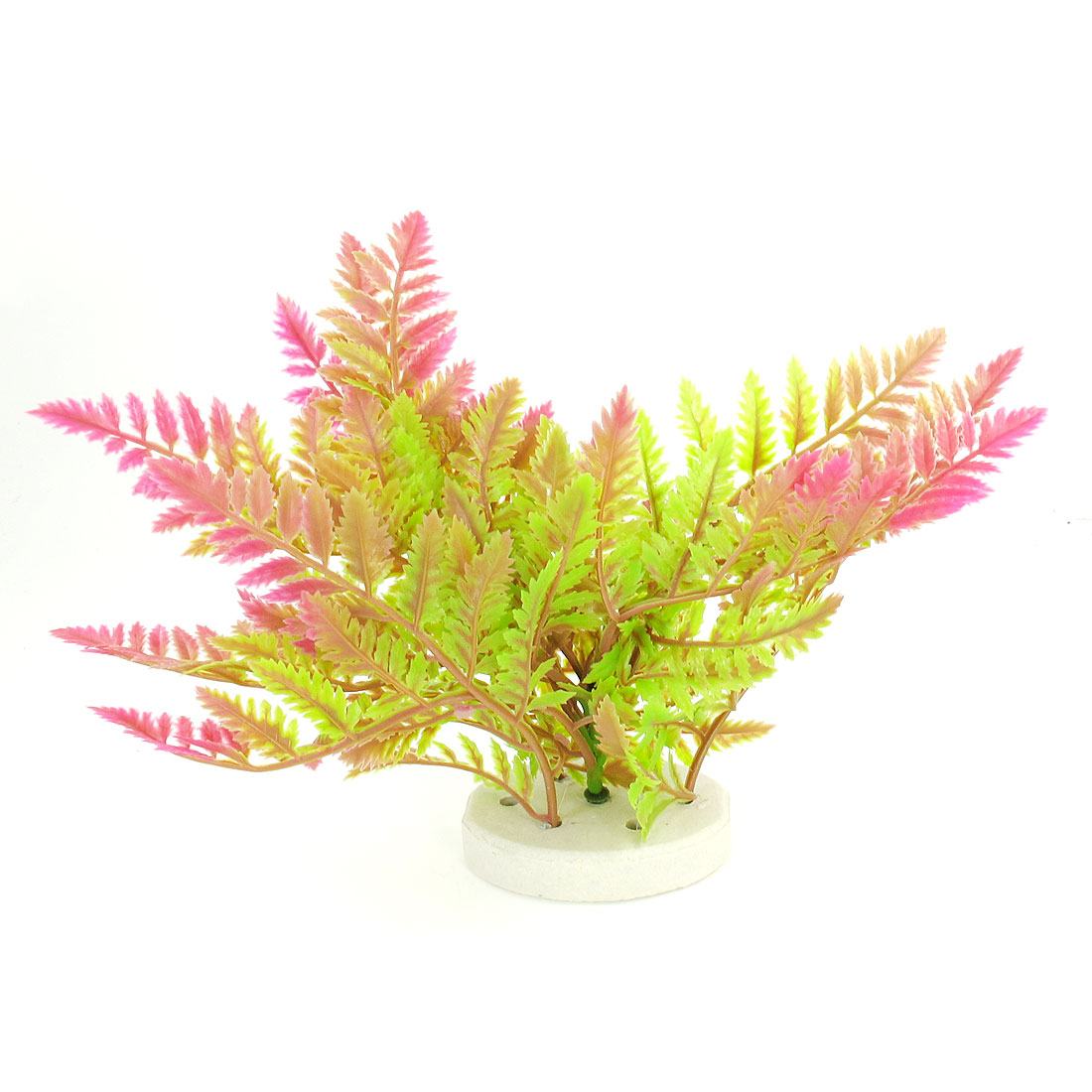 2 Pcs Aquarium Decor Plastic Underwater Plant Green Fuchsia w Ceramic Base