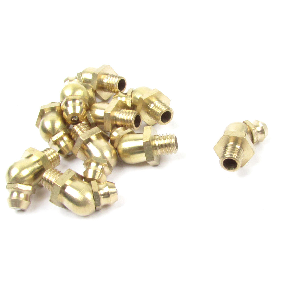 6mm Dia Male Thread 45 Degree Brass Hydraulic Grease Nipple Fitting 10 Pcs