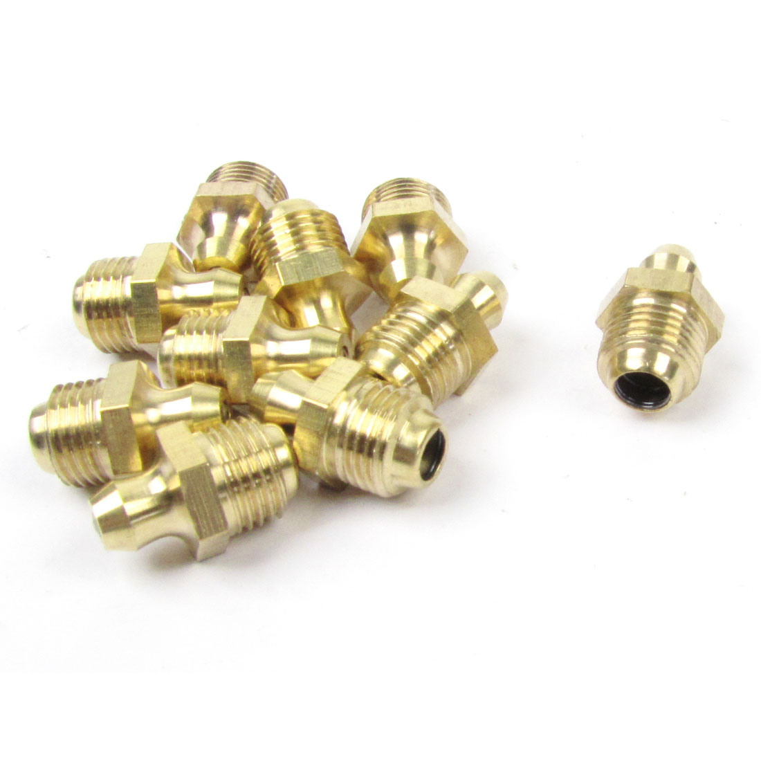 10 Pcs Gold Tone 10mm Dia Male Thread Straight Grease Nipples Fittings