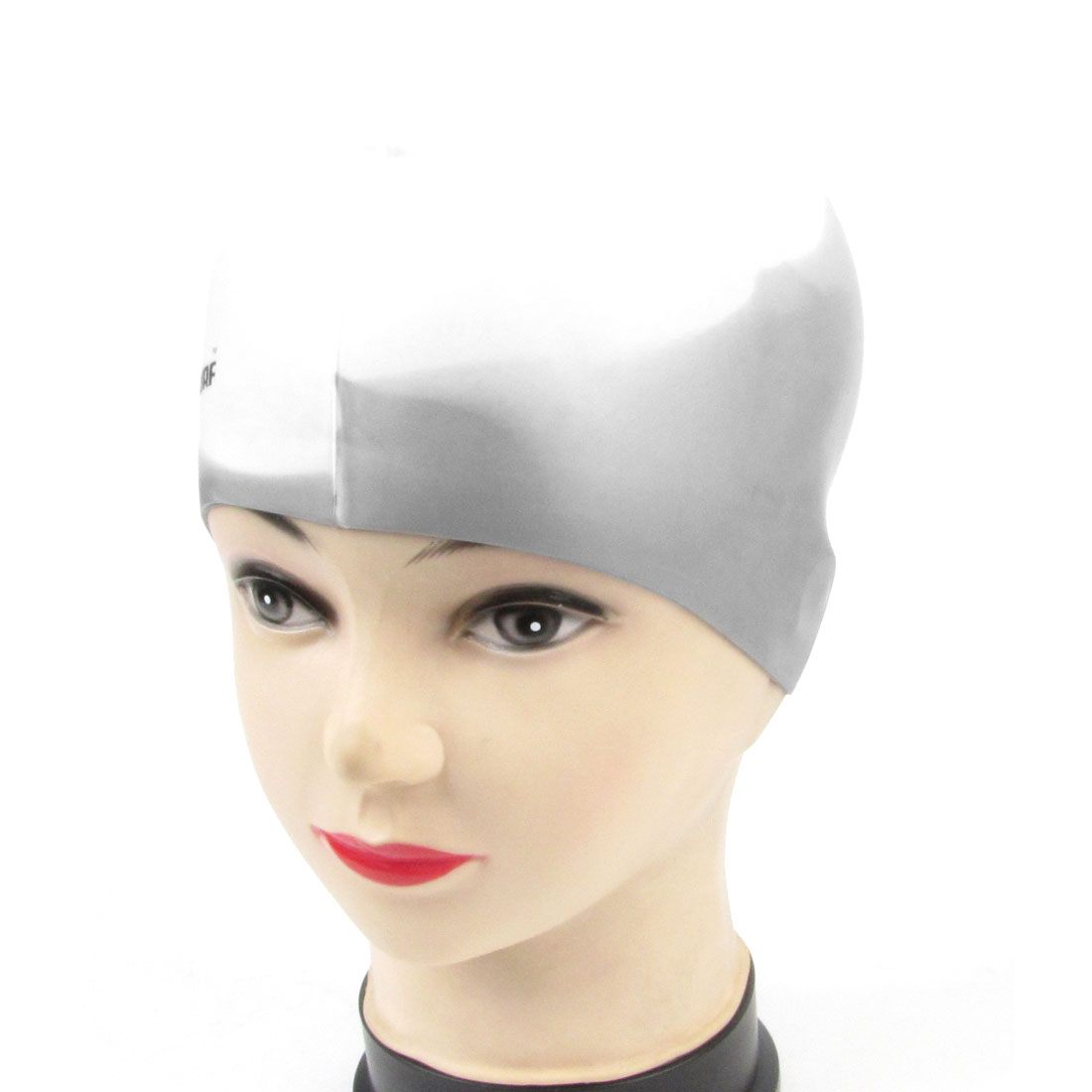 Ladies Letters Pattern Light Gray White Silicone Soft Elastic Swim Swimming Cap