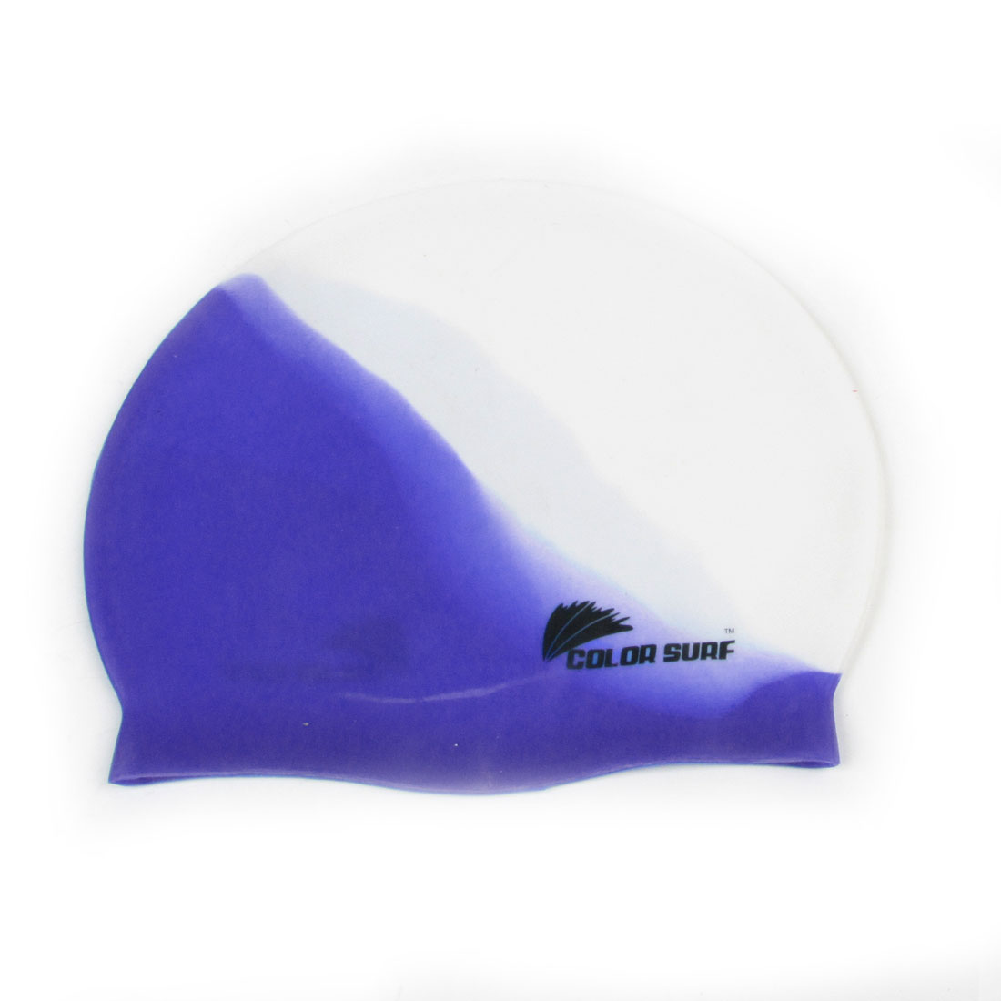 Slippy Elastic Silicone Swim Hat Cap Blue White for Swimming Snorkeling