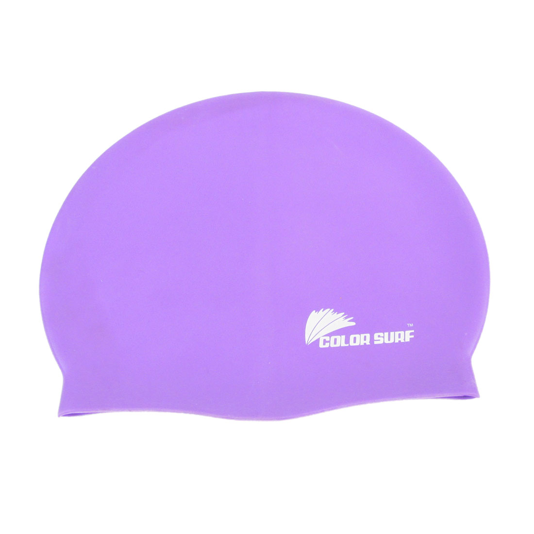 Flexible Sporty Letters Printed Silicone Swimming Cap Purple for Women