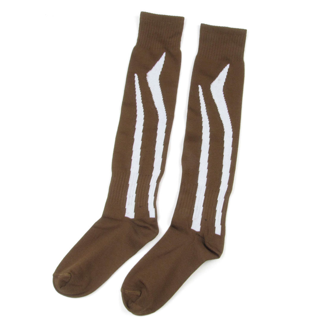 Lady Men White Striped Elastic Brown Softball Soccer Socks Stockings Pair