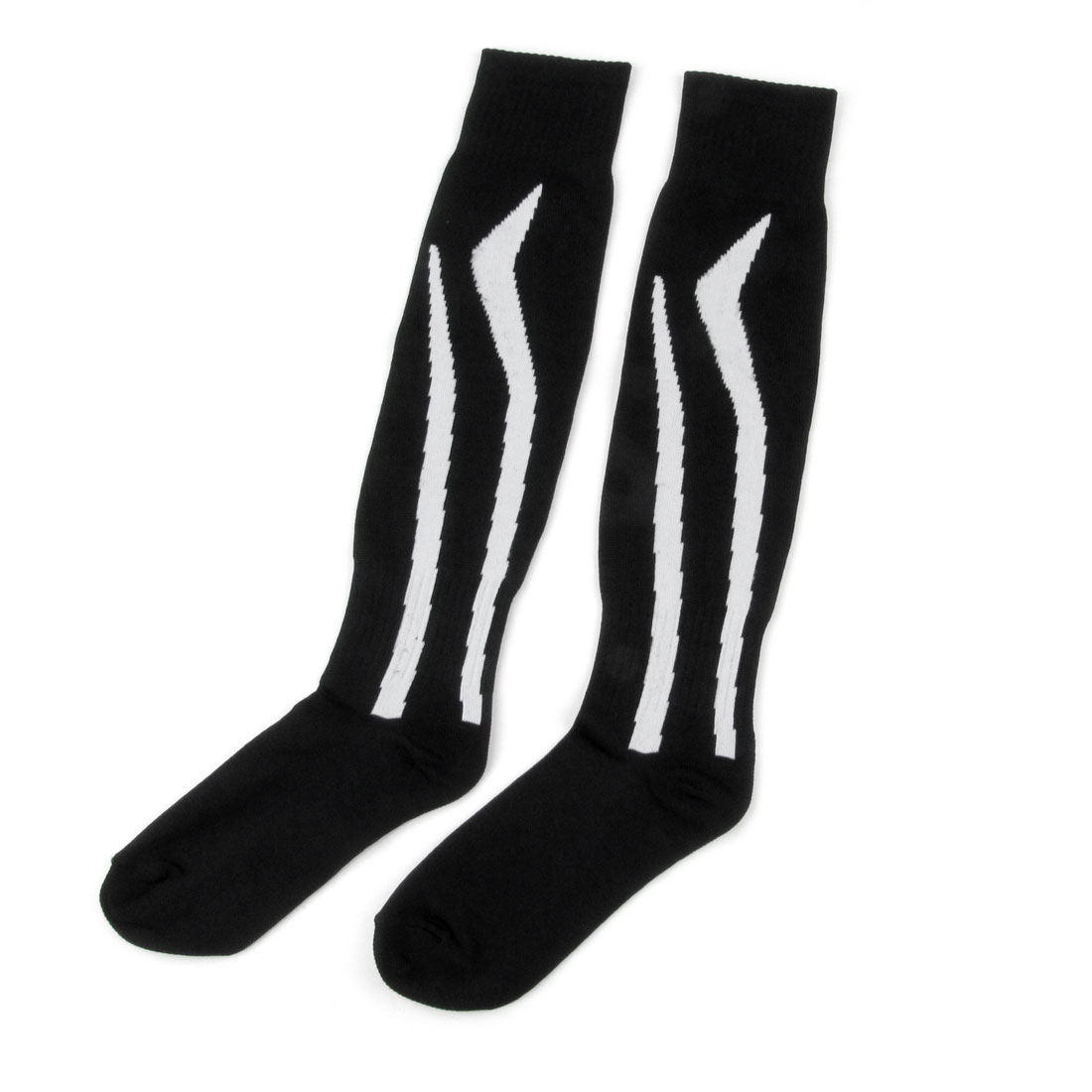 Pair White Stripe Pattern Knee High Black Football Stockings for Women Men