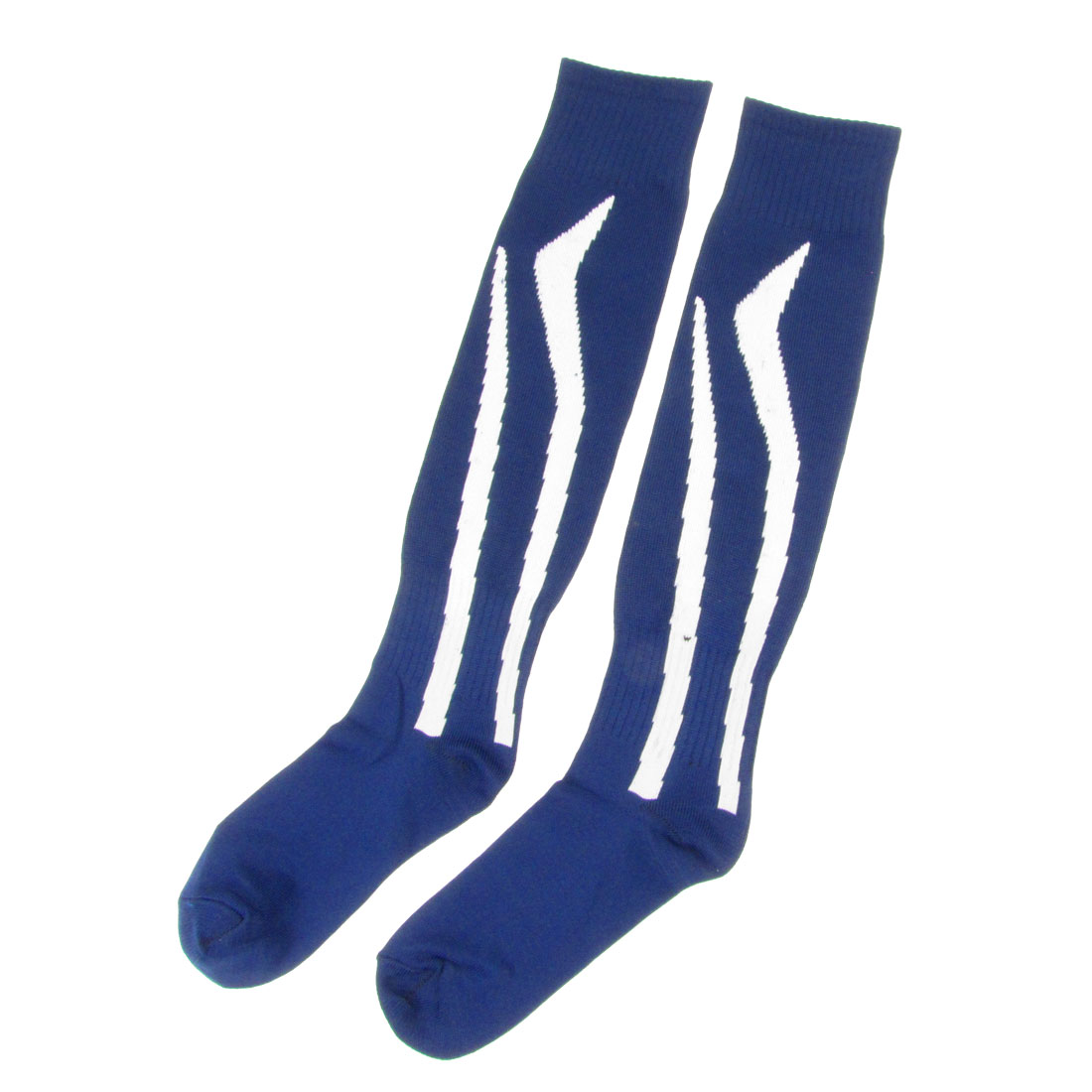 Pair Men Lady White Leg Pattern Spandex Sports Rugby Football Socks Dark Blue