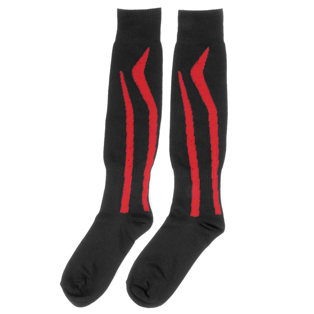 Women Men Red Striped Knee High Hockey Football Socks Stockings Black Pair