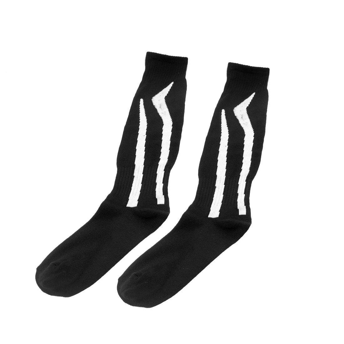 Unisex White Striped Black Knee High Soccer Football Socks Stockings Pair