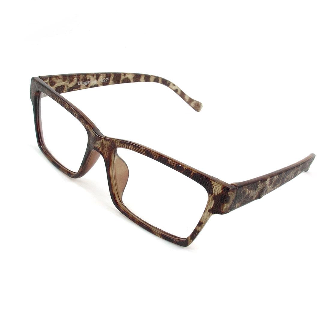 Unisex Brown Clear Full Frame Plastic Texture Rectangle Shape Lens Plain Glasses