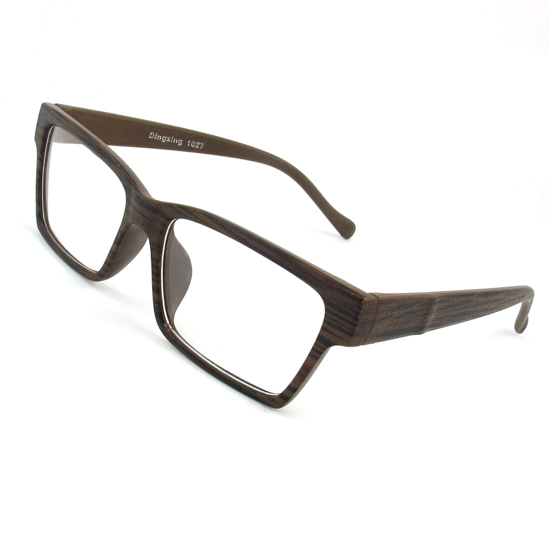 Adults Dark Browm Clear Wood Grain Pattern Plastic Leisure Outdoor Plain Glasses