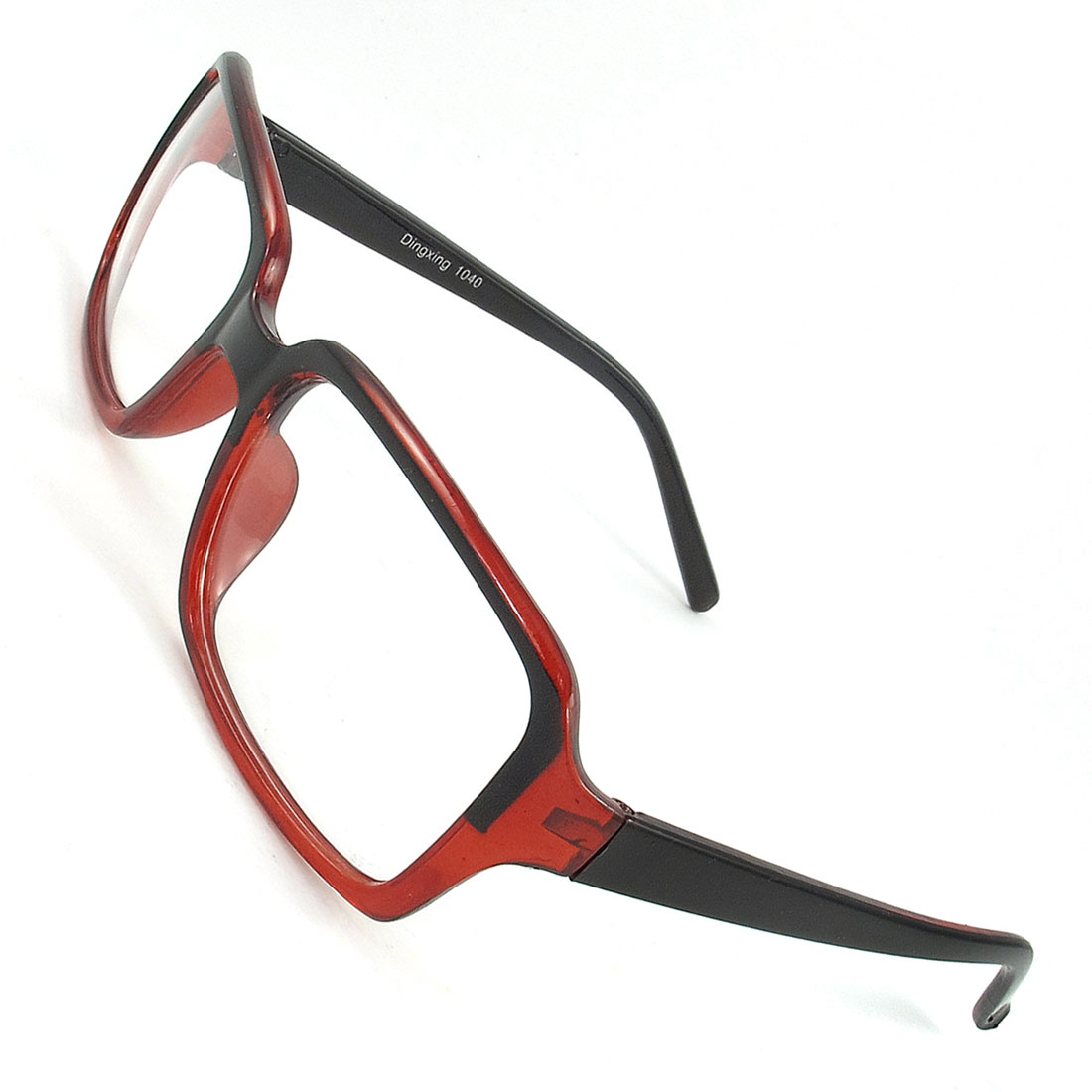 Black Red Full Rim Slim Arms Single Bridge Plano Spectacles for Women Man