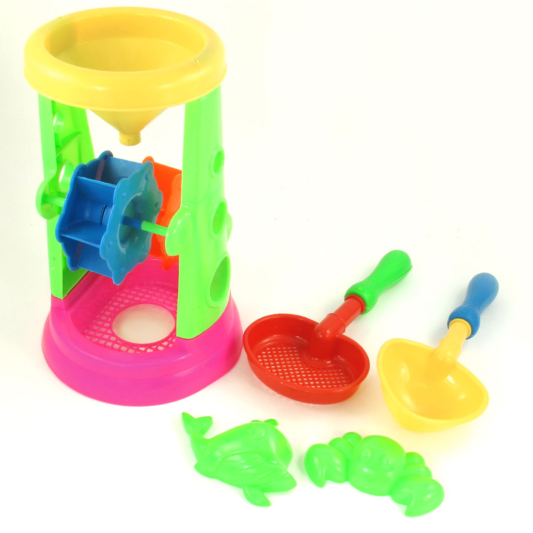 Child Plastic Frame Filling Funnel Sand Filter Shovel Sieve Beach Toy Set 5 in 1